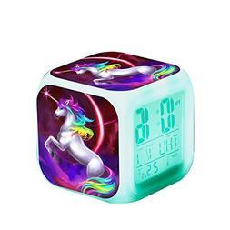 Girls Unicorn Digital Alarm Clocks Wake Up Bedside Clock Led