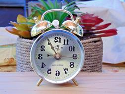 Gold Old Fashioned Alarm Clock Wind Up No Batteries Required