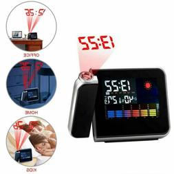 High-Tech LED Alarm Clock Weather Thermometer Projection Dig