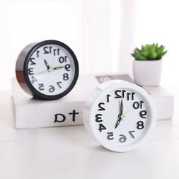 Mini Square/Round Small Analog Alarm Clock Bedroom Bedside T