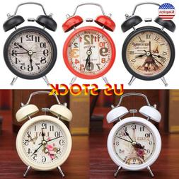Household Retro Double Bell Alarm Clock Round Number Desk Ta