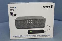 iHome iBT233 Bluetooth Dual Alarm FM Radio Clock - Grey