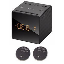Sony ICFC1 Alarm Clock Radio, Black + 2 Back-up 2032 Lithium