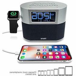IHome Bluetooth Dual Alarm FM Clock Radio Speakerphone, Appl