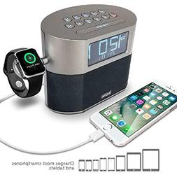 iHome Bluetooth Dual Alarm FM Clock Radio with Speakerphone,