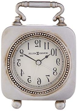 Kegan Tabletop Clock w Antiqued Pewter Color Finish and Alar