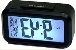 "Ken Tech 1.5"" LCD Number Alarm Clock w/ Light Sensor Black T"
