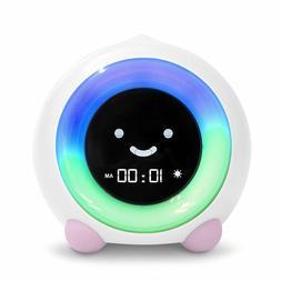Pink Child Sleep Trainer Alarm Clock Kid Bed Room Night Ligh