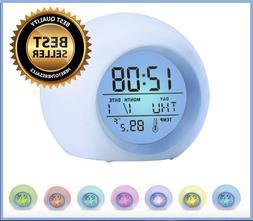 Kids Digital Light Up LED Alarm Clock Time W/ Calendar, Ther