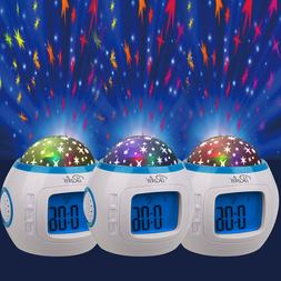 Kids Music LED Star Sky Projection Lamp Digital Alarm Clock