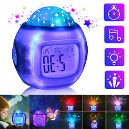 Kids Music LED Star Sky Projection Lamp Digital Alarm Clock