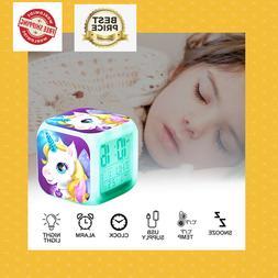 Girl Children Unicorn Digital Desk Led Alarm Clock Night Lig