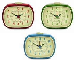 Kikkerland RETRO ALARM CLOCK your choice of blue,green or re
