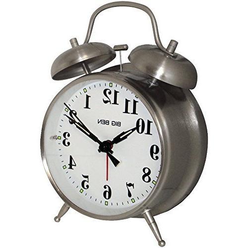 1 - Big Ben Twin Bell Alarm Clock, ¥ Metal nickel finish ca