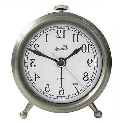 Equity 25655 Quartz Analog Table Alarm Clock, Brushed Silver