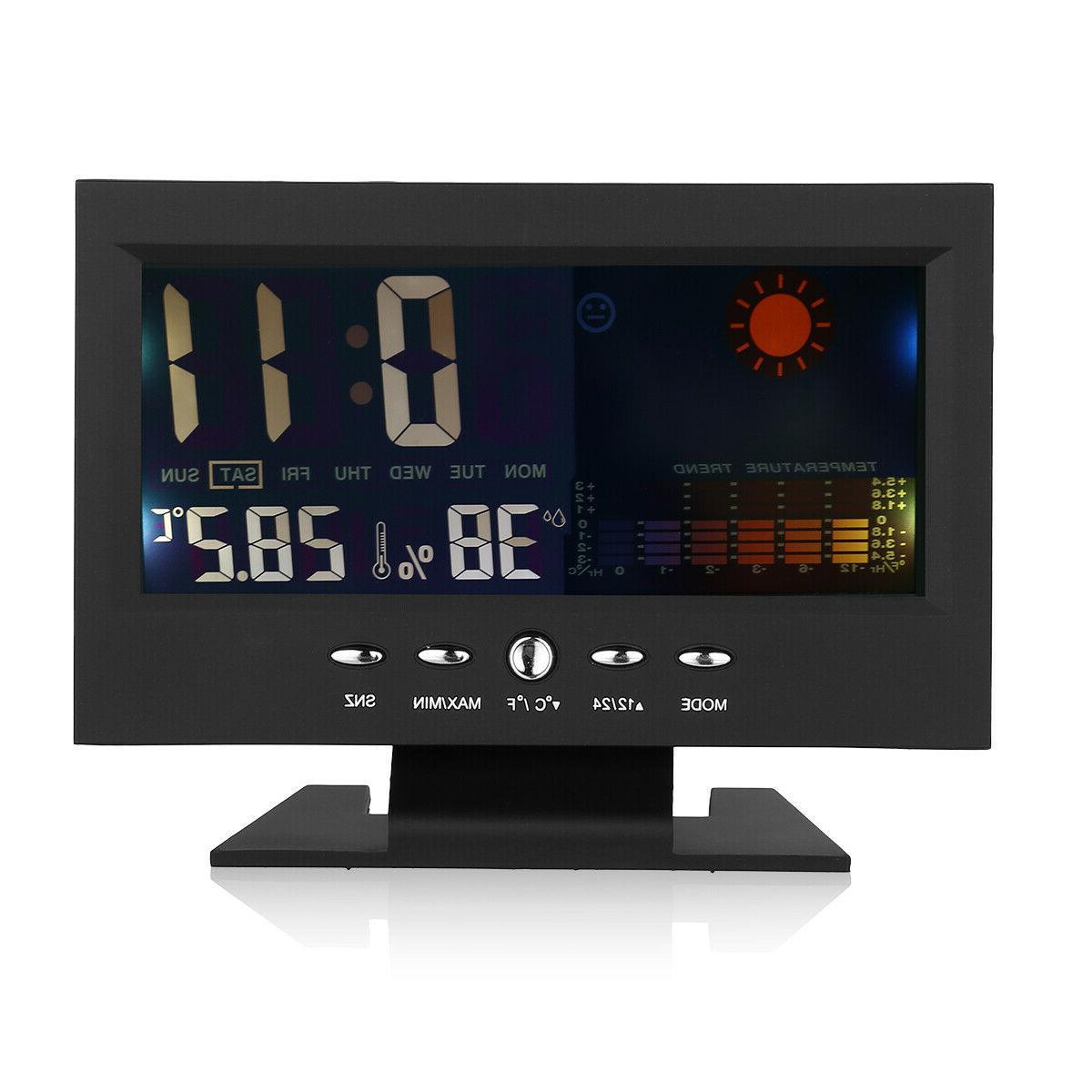 New LED Digital Clock Calendar Weather Color