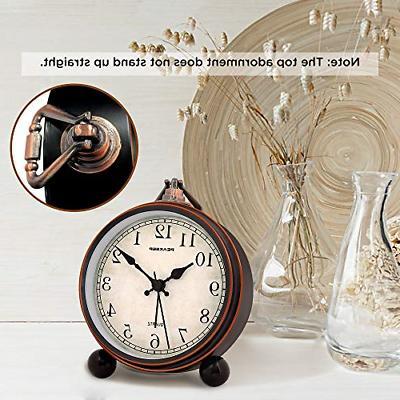 Peakeep Battery Antique Retro Clock, Small Silent