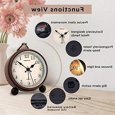 "Peakeep 4"" Battery Antique Clock, Small Silent Clock"