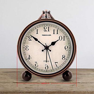 Peakeep Antique Analog Alarm Clock, Small Silent
