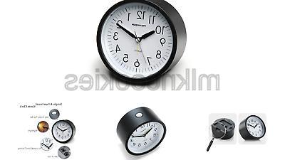 Peakeep 4 inches Round Silent Analog Alarm Clock Non Ticking