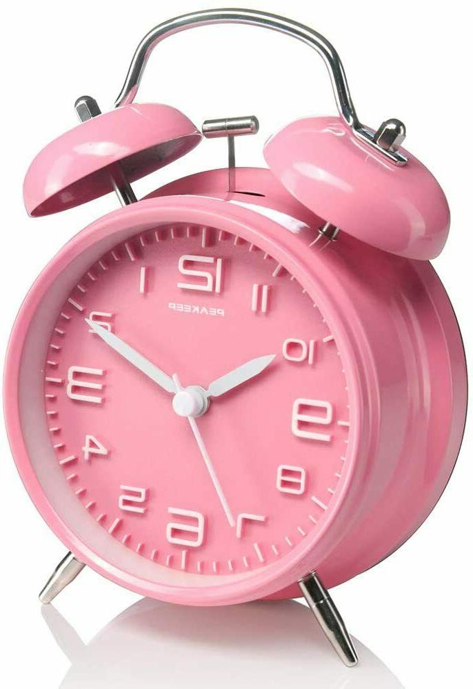 4 inches twin bell pink alarm clock