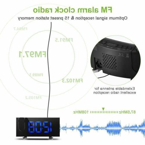 "5"" LCD LED Projector Snooze Alarm Clock Dual Alarm"