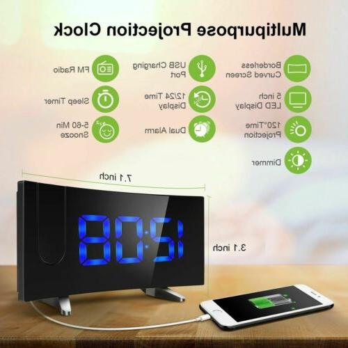 "5"" LCD Digital LED Projector Projection FM Snooze Alarm Dual Alarm"