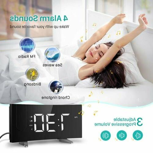 5'' LED Alarm FM 12/24H Timer SNOOZE Dual New