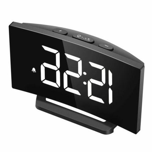 5 led curved projection alarm clock fm
