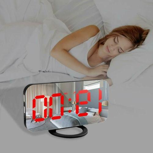 6.5'' LED Digital Alarm Clock Wake Snooze Display Mirror