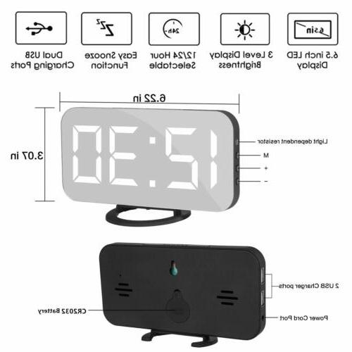 6.5'' LED 12/24 Digital Snooze Mirror