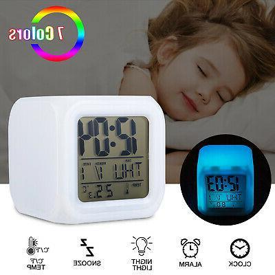 7 color glowing change alarm clock digital