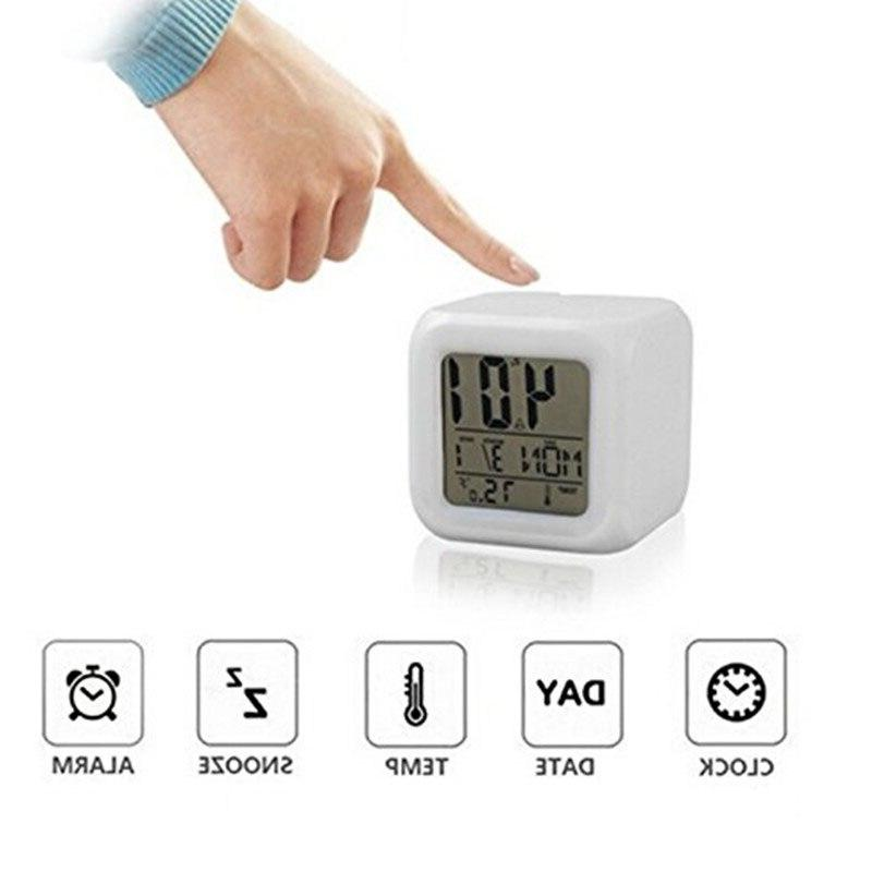 7 Color LED Digital Thermometer Color Electronic <font><b>Clock</b></font>