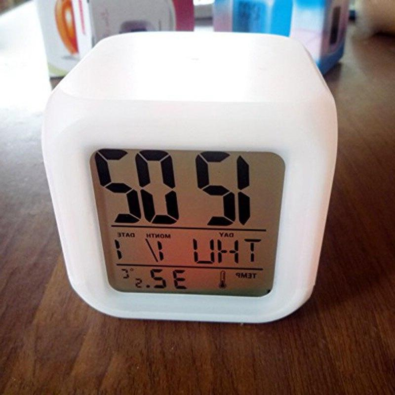7 Thermometer Color Changable Electronic <font><b>Clock</b></font>
