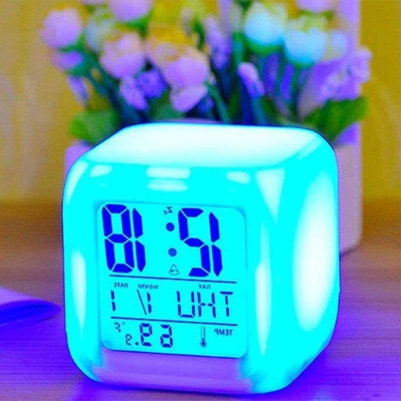 7 Color Digital Glowing Thermometer Electronic <font><b>Clock</b></font> Kids Bedroom