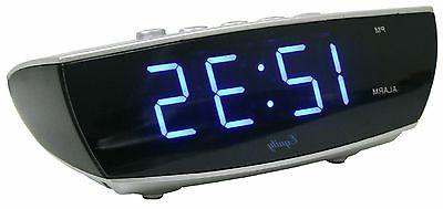 75903 Crosse Powered Blue Display Digital Alarm Clock