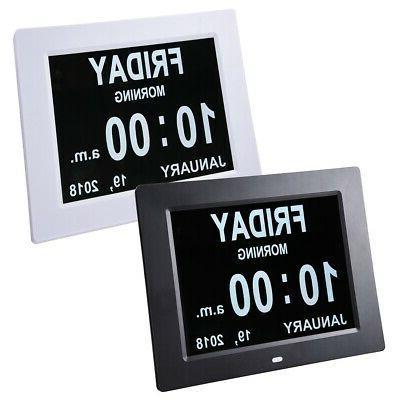 "8"" Digital Day Clock Wall 6-Alarm Time Week Date Calendar De"