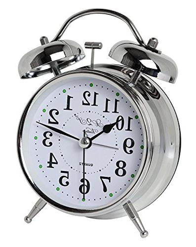 A2S Vintage Style Alarm Clock - Twin Bell, Analog & Battery