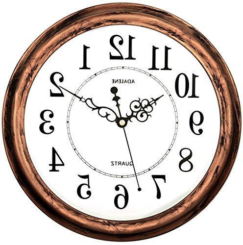Adalene 13 Inch Large Non Ticking Silent Wall Clock Decorati