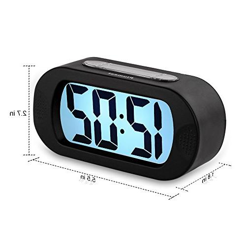 Easy Large LCD Alarm Clock with Snooze Good Night Sound Alarm Sized, Kids