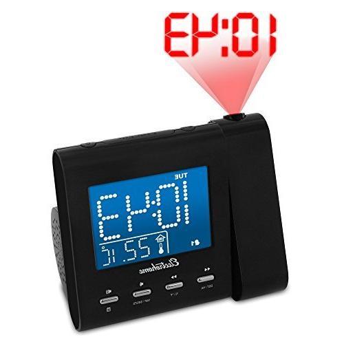 Magnasonic Projection Alarm Clock with AM/FM Backup, Dual Alarm & 3.5mm Audio