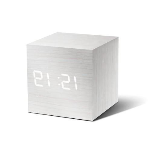 """Gingko Cube Click Clock 2.5"""" x 2.5"""" Time/Date/Temp White / W"""