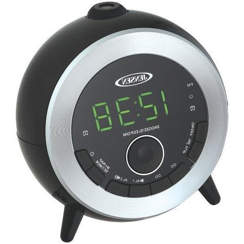 Jensen Compact AM/FM Dual Time Projection Alarm Clock Radio