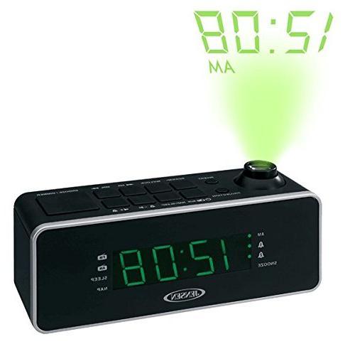 Jensen Compact AM/FM Time Projection Dual Alarm Clock Radio