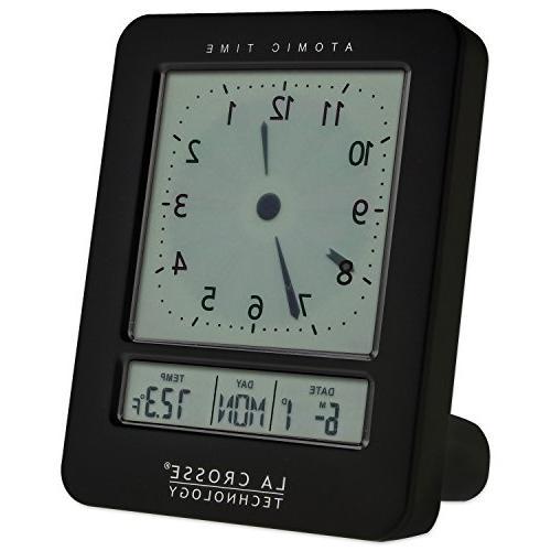 Atomic Analog-Style Clock, Black
