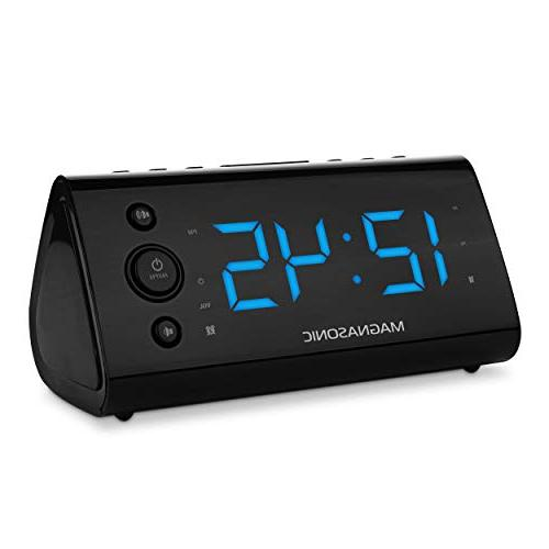 "Magnasonic Alarm with for Smartphones Dual Auto Time 1.2"" Display with 4 Dimming"