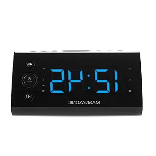 "Magnasonic Alarm Clock with USB Charging Smartphones & Dual Auto Time Set 1.2"" LED 4"