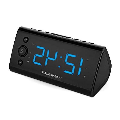 "Magnasonic Alarm with USB Smartphones & Dual Alarm, Auto Time Set & 1.2"" LED 4"