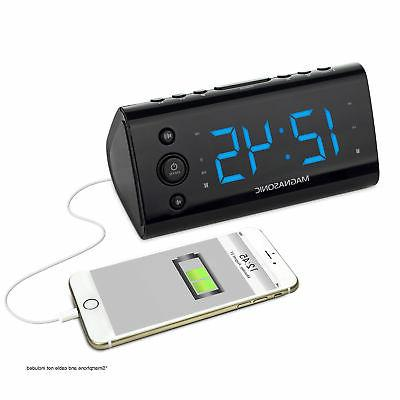 Magnasonic Alarm Clock Radio with USB Charging for Smartphon