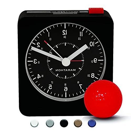 Marathon Silent Non-Ticking Alarm Clock with Warm Amber Auto
